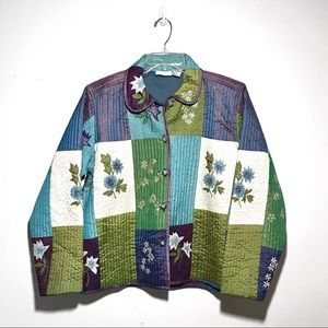 Jackets & Blazers - NWOT | Iridescent patch and floral quilted jacket